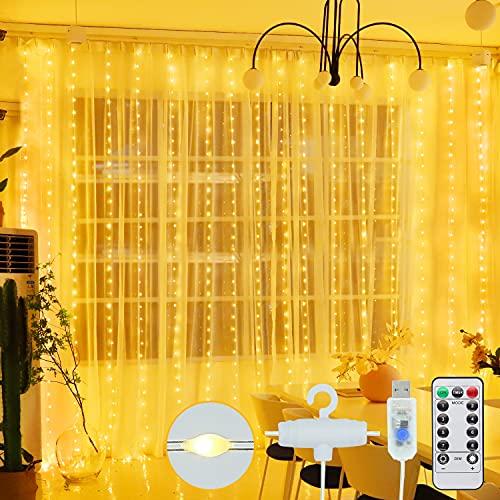 HALOY Tenda Luminosa - 300 LED Luci Di Natale USB, Tenda Luminosa LED 3M*3M con Telecomando, 8 Modalità Impermeabile Decora le Tenda di Luci per Natale, Matrimoni, Feste, Interni ed Esterni