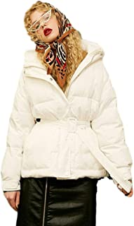 Women's Winter Coat Hooded Black and White Coat Women's Tie with Thick Loose Jacket Short Windproof Warm (Color : White, Size : L)