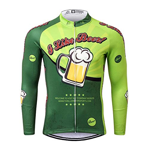 Thriller Rider Sports® Herren I Like Beer Sport & Freizeit MTB Fahrradbekleidung Radtrikot Langarm Large