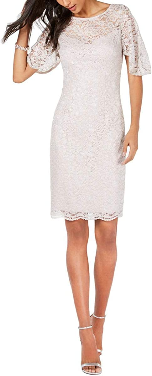 Adrianna Papell Women's Metallic Lace Sheath Dress with Flutter Sleeves