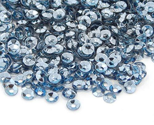 2400 STK. Pailletten Ø 3mm Schüssel gewölbt für DIY Kleidung und Schmuck, Handwerk Metallic Farbauswahl Basteln Sequin Bombe (Grau Blau)