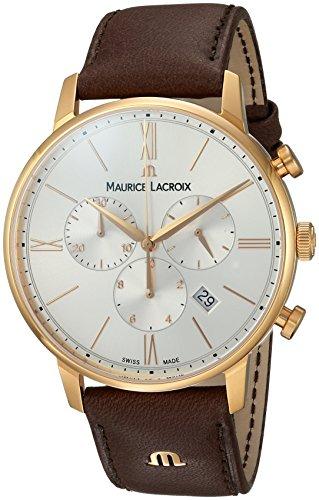 Maurice Lacroix Herren Chronograph Quarz Uhr mit Leder Armband EL1098-PVP01-111-1