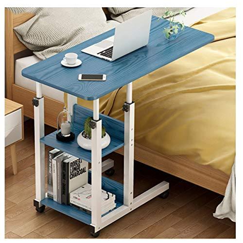 LYLSXY Mesa de sobrebedida, Mesa de Almacenamiento de Mesa Auxiliar Ajustable Mesa de sofá con estantes de Almacenamiento Muebles (Color : Blue)