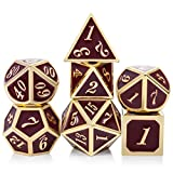 red a d - Metal Dice Set, 7PCS DND Metal Dice with Metal Box for Dungeons and Dragons,Shadowrun,Pathfinder and Other RPG (Dark Red and Gold Number)