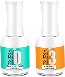 2 in 1 Top & Base Coat, Activator for Dip Powder System, 0.5 oz/ Bottle Dry Fast Easy to Apply No need UV/LED Cured
