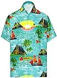 LA LEELA Herren Zuknöpfen Hawaiihemd Funky Tropische Druck Kurzarm Casual Strand Sommer Urlaub...