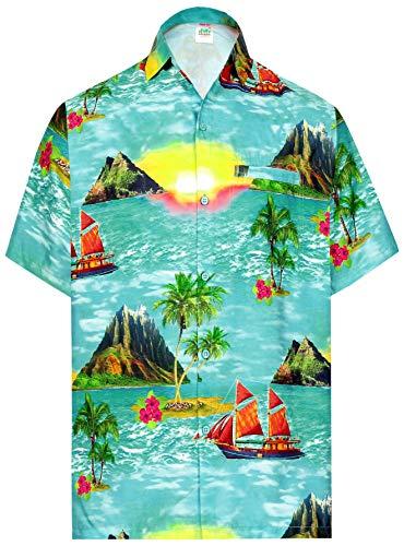 LA LEELA los Hombres Playa Palma Impreso Aloha botón de Camisa Informal Bolsillo Delantero Verde_AA395 XXL