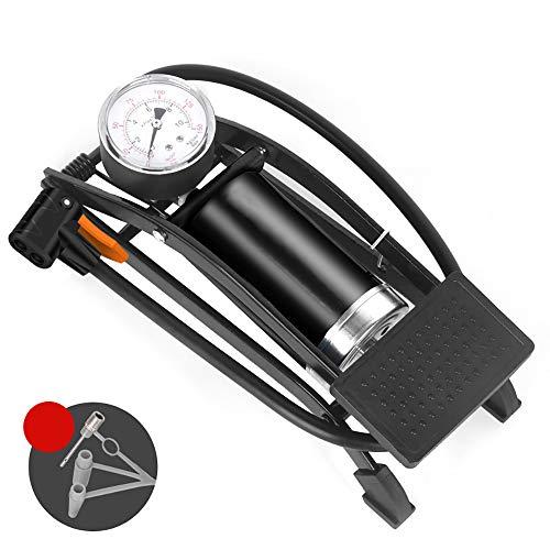 Fußpumpe mit Luftleitung, ONEVER Hochdruckpumpe Fahrrad-Doppelzylinder mit Manometer, für Fahrräder, die meisten Autoreifen, Motorräder, Bälle
