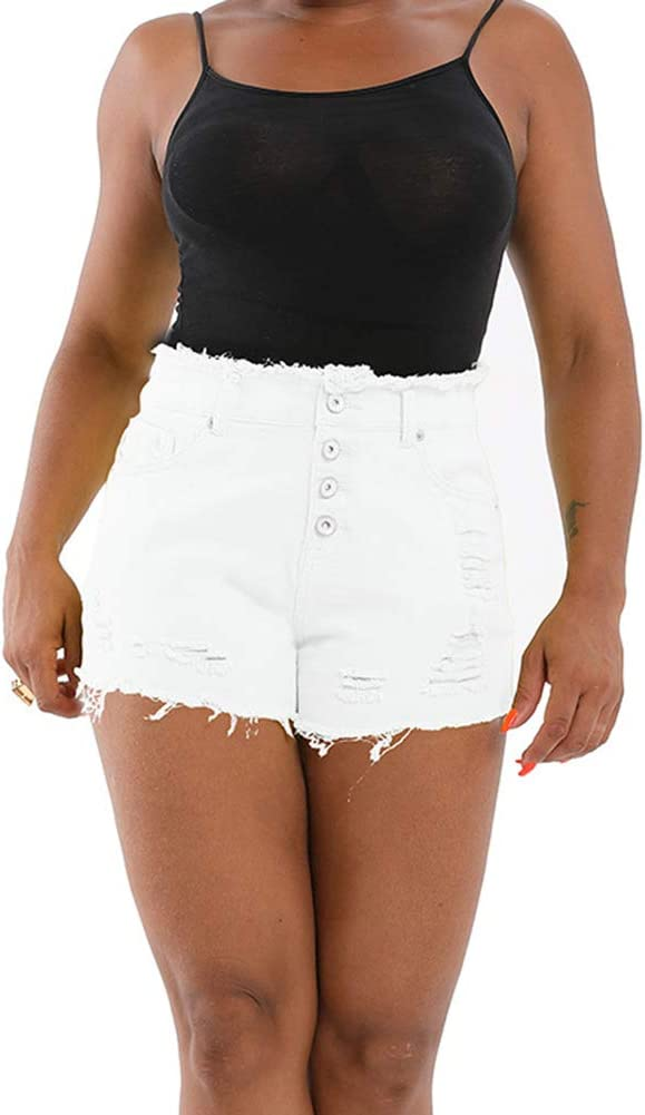 Ripped Denim Shorts for Women Button Tassel Solid Color Frayed Casual Shorts,White,M