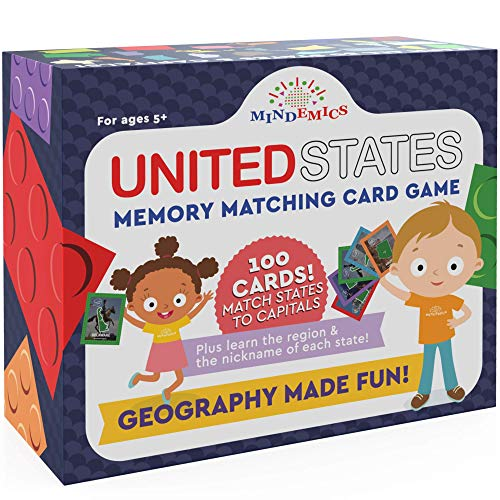 MINDEMICS US State Capitals Match It Game –United States and Capital Cities Flash Cards - Landmark Photos, State Slogans and Image - Educational Geography Memory Toy for Kids - 100 Pack (Toy)