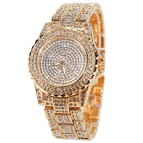Smalody Round Luxury Women Watch Crystal Rhinestone Diamond Watches Stainless Steel Wristwatch Iced Out Watch with Japan Quartz Movement for Women | Simulated Lab Diamonds (Gold)