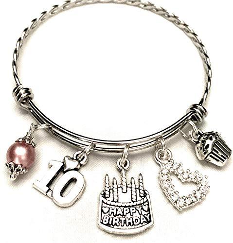 10th BIRTHDAY Bracelet, 10th Birthday Charm Bracelet, Granddaughter Daughter Gift Idea, Tenth Birthday Gift, 10 Year Old Birthday Bangle
