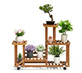 TOETOL Wood Plant Stand Indoor Plant Stand Outdoor Multi Tier Flower Stand with Wheels in Corner Window Living Room Balcony Patio Yard (7-9 Flowerpots)