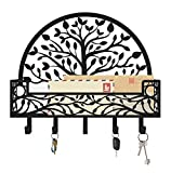 Mail and Key Holder for Wall, Decorative Tree of Life Design by MAXFOUNDRY; Bill, Key and Mail Organizer with Wall Mount Hooks; Nature Inspired Family Tree Wall Decor for Entryway and Mudroom (Black)