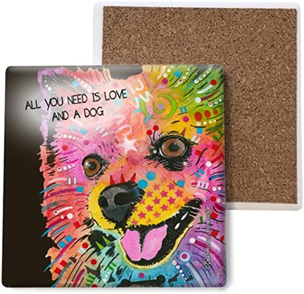 SJT ENTERPRISES INC Pomeranian All You Need Is Love And A Dog Happy With Tongue Sticking Out Absorbent Stone Coasters 4 Inch 4 Pack Features The Artwork Of Dean Russo SJT07039