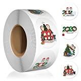 1.5''Thank You Christmas Stickers Roll, Thank You for Supporting My Small Business Stickers,500 Labels Per Roll, 4 Design Round Stickers for Bags, Boxes, Tissue, Ideal Crafters & Online Sales