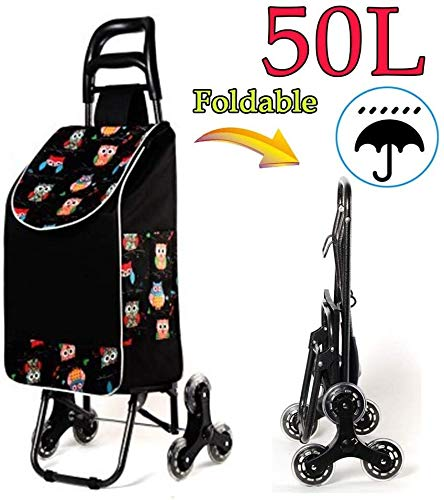 Shopping Trolley Borse pieghevole con 6 rotelle, con coperchio, Leggero, forte 50L impermeabile di grande capienza Montascale carrello Carrello spesa di avvio for le donne gli uomini disabili Old Lady