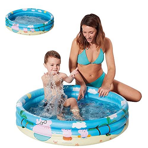 Smart Planet Planschbecken Peppa Pig aufblasbar - 100 x 23 cm - 3-Ring-Pool Peppa Wutz - Kinderpool - Babypool - Schwimmbecken - Aufstellpool