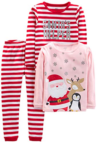 Simple Joys by Carter's Baby, Little Kid, and Toddler 3-Piece Snug-Fit Cotton Christmas Pajama Set, Red Stripe/Santa, 4