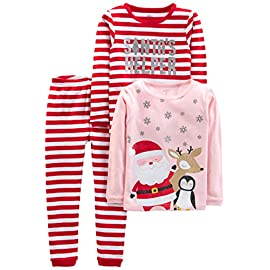 Simple joys by carter's baby, little kid, and toddler 3-piece snug-fit cotton christmas pajama set 1 coordinating 3-piece pajama set featuring two long-sleeve tops and pant with ribbed cuffs santa graphic covered elastic waistbands
