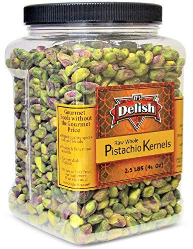 Premium California Raw Shelled Pistachios Kernels by Its Delish, 2.5 LBS (40 OZ) Jumbo Reusable Container Jar - Bulk Size Tub - Pistachio Nuts No Shell Unsalted - Kosher Snack & Salad Topping