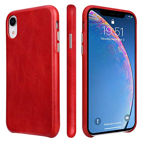 TOOVREN iPhone Xr Case Leather Genuine iPhone XR Leather Case Ultra Slim Protective Shock-Resistant Vintage Shell Hard Back Cover for Apple iPhone Xr 6.1 inch 2018