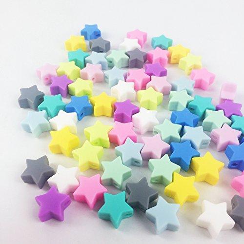 20pcs Silicone Beads en forme d'étoile Diy Bijoux Food Grade Teether BPA Libre Eco-friendly Baby Teether Toys Collier ou Bracelet