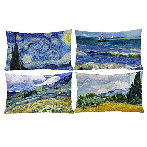 HOSTECCO Vincent Van Gogh - Set di 4 federe per cuscini rettangolari per famosi fan della pittura, 30,5 x 50,8 cm