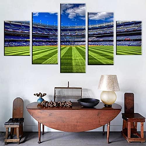 Modulare Malerei Leinwand Wandkunst Bilder Dekoration 5 Stück Sport Fußballspielfeld Wohnzimmer Moderne Poster,200cm × 100cm,Rahmen