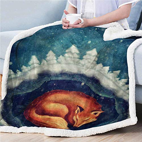 ParadiseDecor 50'x 60' Fairy Print Sherpa Blanket for Your Friend/Family/Kids Fox Sleeping Mother Nature