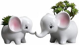 Elephant Flower Pot 2PCS/Modern White Ceramic Succulent Planter Pots/Tiny Flower Plant Containers Animal Decor ,Bonsai Con...