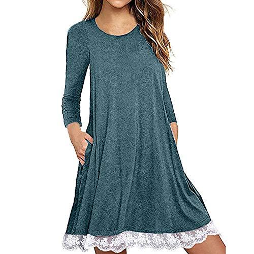 kaifongfu T Shirt Dress with Pockets Women Long Sleeve Cotton Dress(Blue,S)