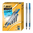 BIC Round Stic Grip Xtra Comfort Ballpoint Pen, Black & Blue, 36 Count