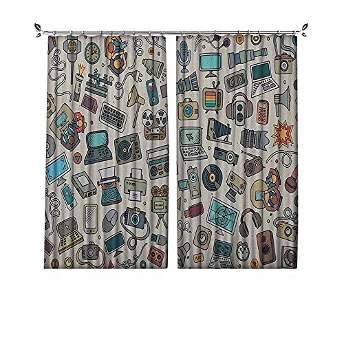 Cortinas plisadas con aislamiento térmico Doodle, complementan varios aparatos de oficina, grabadora de TV, portátil, monitor de tableta, ratón, para travesaños y rieles, multicolor