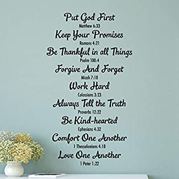 Amazon Com Wall Quote Decal Bible Family Rules Religious House Rules Bible Verse Faith Quote Christian Home Office Rules Vinyl Decal Home Kitchen