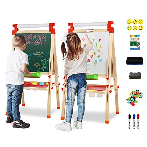 Joyooss Kids Wooden Easel with Extra Letters and Numbers Magnets,...