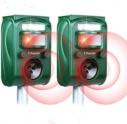 Traputa Repulsif Chat Exterieur,Solaire Répulsif Chat Exterieur Sensibilité et Fréquence Réglable Ultrason Chat pour Repousser Animaux Nuisibles Protecteur de Jardi x2
