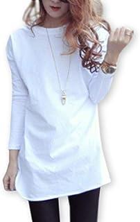 [モルクス] tシャツ カットソー ロング 九分袖 クルーネック ラウンドカット レディース (ブラック、ホワイト) S~XXL