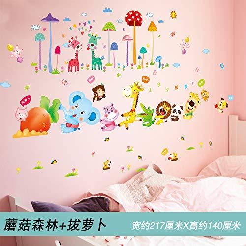 Kindergarten Kinderzimmer Wandaufkleber Aufkleber Bemalt Schlafzimmer Wand Dekoriert Wand Selbstklebende Tapete 4. Pilzwald und Rettich N
