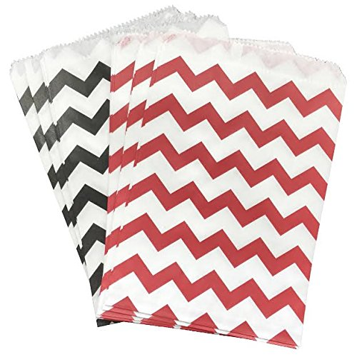 Outside the Box Papers Black Red and White Paper Treat Sacks Chevron Favor Bags - 5.5 x 7.5 Inches - 48 Pack
