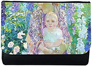 Western Women Holding Baby On Flowers Oil Painting MultiFunction Faux Leather Wallet Card Purse Gift