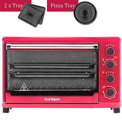 Oursson MO4225/RD - Mini Horno eléctrico con convección, autolimpieza catalítica, 4 años, 42 litros, 2000 W, 12 Combinaciones de Cocina, Color Rojo (42 litros)