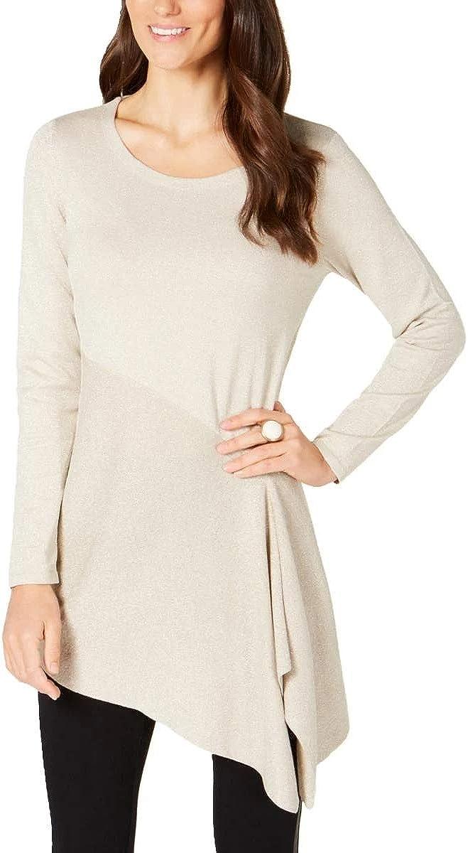 Arlington Mall Alfani Womens Metallic Pullover Asymmetric Ranking TOP15 Sweater