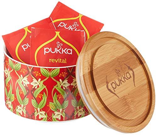 Pukka Tee Geschenkset gefüllte Teedose aus Keramik mit Bio-Tee Revital, 10 Teebeutel, 608 g
