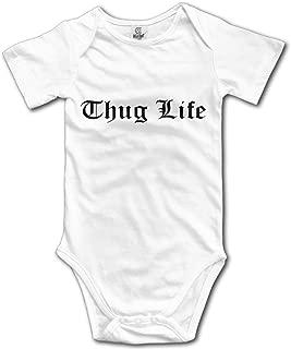 Thug Life Text Graphic Cute Unisex Short Sleeve Climb Jumpsuit Baby Bodysuit