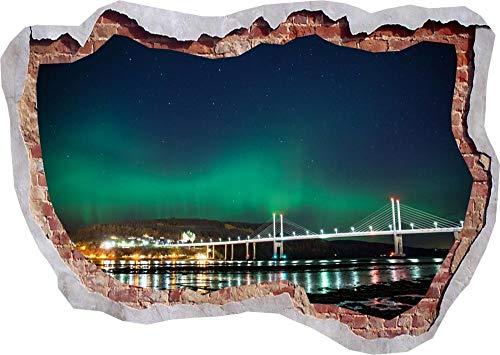 Pegatinas de pared Northern Lights Nature View Bridge 3D Smashed Wall View Sticker Poster Art- 80×120cm