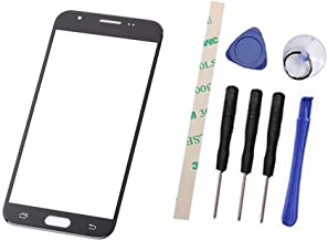 Outer Screen Front Glass Lens Replacement For Galaxy J3 2017 SM-J327 J327A J327P J3 Emerge /J3 Eclipse /J3 Prime / J3 Mission /J3 Luna Pro (Not LCD and Not digitizer) with Adhesive Preinstalled(black)