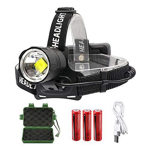 GRJKZYAM XHP70 Linterna Frontal Recargable, 10000 Lumenes Linterna Frontal LED Alta Potencia Ultra Brillante Linterna Cabeza para Trabajo con Zoom 3 Modos, para Camping, Equitación, Correr, Pesca