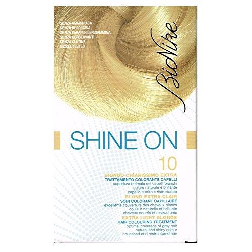 BioNike Shine On Trattamento Colorante Capelli (Tono Biondo Chiarissimo Extra 10) - 1 flacone x 75 ml. + 1 tubo x 50 ml. (Totale 125 ml.)