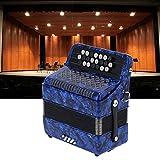 Accordian, fácil de tocar, madera y metal, 22 teclas, acordeón para exteriores para profesionales.(Navy blue, blue)